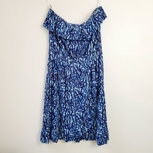 Lilly Pulitzer Blue Ruffle Strapless Dress